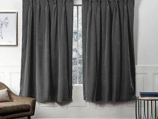 Set of 2 108 x54  Velvet Heavyweight Grommet Top Window Curtain Panel Gray   Exclusive Home