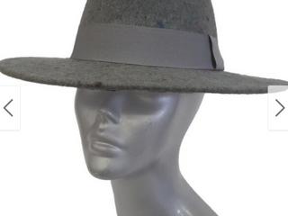 Grey   Wide Brim Unisex Designed Wool Felt Fedora Fall Winter Floppy Hat