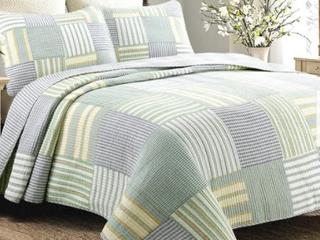 Cozy line Spa Stripes Patchwork Quilt Set  Retail 88 49