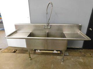 Heavy Duty 2 Bay Stainless Steel Sink w Spraydown