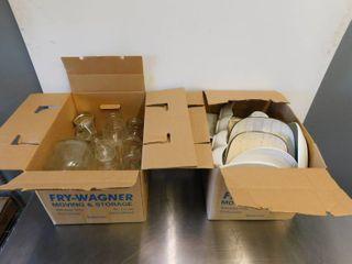 Assortment of Mason Jars  Wine Glasses  Various Plates