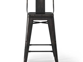 WYNDENHAll Josephine Industrial Metal 24 inch Counter Height Stool  Set of 2    16 3 W x 17 1 D x 33 3 H Retail 150 99
