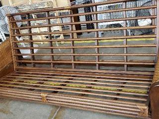 Wood   Wicker Futon Frame  Missing Mattress
