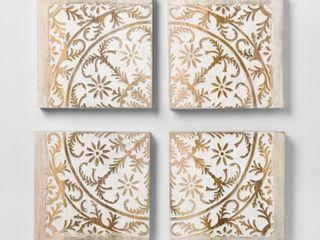 Carved Wood Panel 4pk Decorative Wall Art Set   Opalhouse
