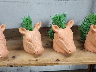 Set of 4  Terracotta Zebra Heads
