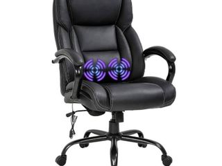 Black  Global Pronex PU Massage Big and Tall Office Cchair w  Headrest and USB lumbar Support  Black   24 W x 21 5 D x 46 5 H inch Retail 323 99