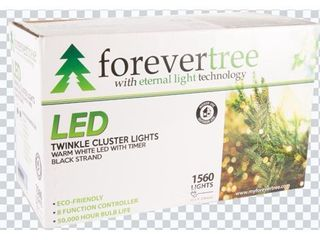 Forever Tree 1560 lED Twinkle Cluster Warm White lights w Black Wire