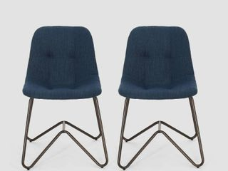 Navy Blue   Bronze  Norwood Fabric Dining Chair  Set of 2  by Christopher Knight Home Retail 166 99