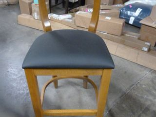 Wooden and Faux leather Bar Stool