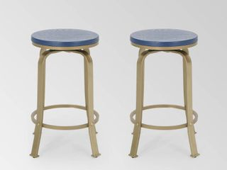 Blue Gold  Skyla 24 inch Natural Wood Roating Counter Stool  Set of 2  by Christopher Knight Home Retail 176 49