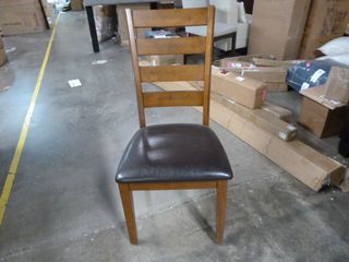 Wooden and Black leather Dining Chair