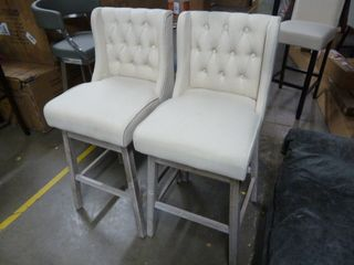 Pair of White Tufted Bar Stools