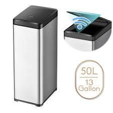 13 Gallon Automatic Trash Can Stainless Steel Touchless Motion Sensor Bin Soft Close lid  50l lED Timer  Slim Design  Retail 83 49
