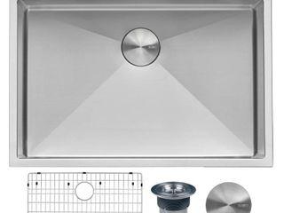 8  x 11    Silver  Ruvati 30 x 22 inch Drop in Tight Radius Topmount 16 Gauge Stainless Steel Kitchen Sink Single Bowl   RVH8009   8  x 11  Retail 299 00