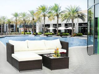 Grey  2 Piece Outdoor Conversation Set Rattan Patio Furniture Set Bistro Set Sofa Chairs with Coffee Table Retail 648 49