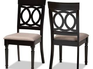 Dark Brown  lucie Modern Grey Fabric and Espresso Brown Wood 2 PC Dining Chair Set Retail 118 49