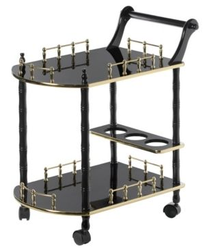 Brown  Wood Serving Bar Cart Tea Trolley 2 Tier Shelves and Rolling Wheels Retail 125 49