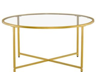 Modern Cross Foot Round Glass Coffee Table living Room Side Table Retail 114 99