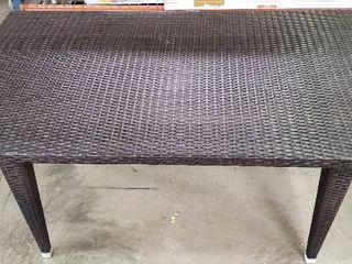 Brown Plastic Wicker Outdoor Dining Table