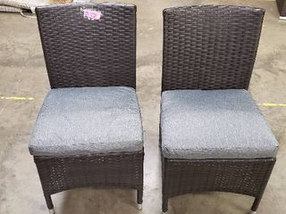 Set of 2  Brown Wicker Patio Chairs w  grey cushions