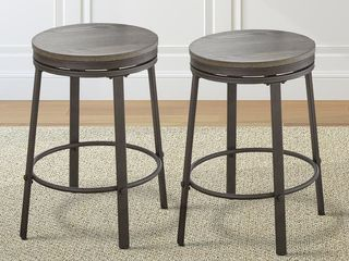 Perry Grey Counter Height Swivel Stool by Greyson living  Set of 2  Retail 139 99