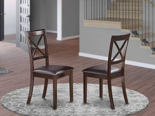 BOC MAH W Boston Chair Wood Seat in Black and Cherry Finish  Set of 2  Retail 146 99