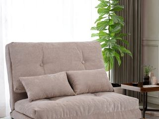 Beige Sofa Bed with 2 Pillows Adjustable Folding Futon Sofa