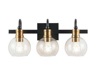 3 light Marais Iron Glass Rustic Vintage lED Vanity light  Black Brass Gold by JONATHAN Y Retail  112 99