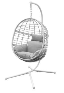 Agats Outdoor Wicker Basket Swing Chair with Cushions by Havenside Home  Retail 330 99