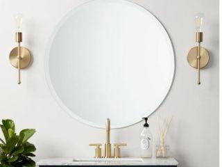 Frameless Beveled Edge Round Wall Mirror  Retail 98 99