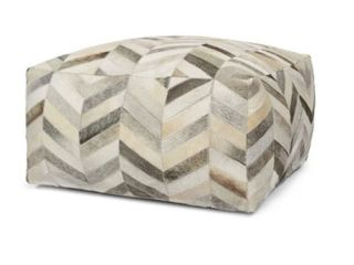 Pingree Handcrafted Boho Cowhide Pouf by Christopher Knight Home  Retail 221 99