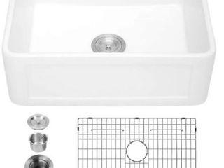 lordear 24 Inch Fireclay Farmhouse Kitchen Sink Single Bowl Sink  Retail 287 99