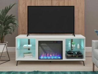 Avenue Greene Melanie Fireplace TV Stand with lED lights for TVs up to 70 inches  Retail 571 99