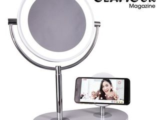 lED Makeup Mirror with Qi Charging Stand White Includes Energy Efficient light Bulb   Ottlite