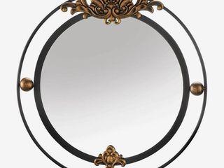 Garfield Decorative Round Wall Mirror   Black Gold  Retail 211 49