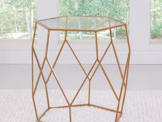 The Curated Nomad Roxbury Mixed Media End Table  Missing Glass