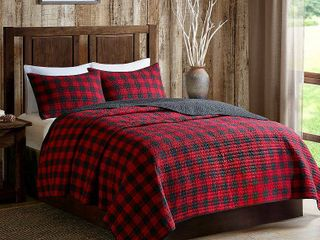 Woolrich Check Red Cotton Percale Printed King Cal King Quilt Set  Retail 99 98