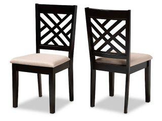 2 Piece Caron Upholstered Wood Dining Chair Set Sand Brown Espresso   Baxton Studio