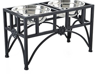 PawHut 22 in  Double Stainless Steel Heavy Duty Dog Food Bowl Pet Elevated Feeding Station