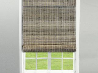 Radiance Cordless Privacy Weave Roman Shade  Driftwood 28 5in x 64in