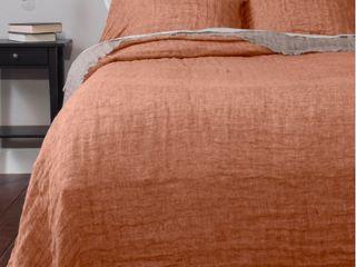 Kennith Reversible linen King Bedspread  Tangerine  Retail 349 99