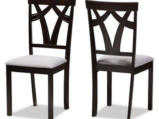 Sylvia Modern And Contemporary Fabric Upholstered And Finished Dining Chairs Gray Dark Brown  Set of 2   Baxton Studio