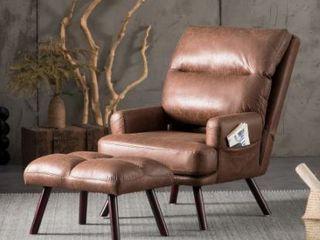 Ovios Velvet Recliner Chair with Ottoman  Retail 314 99
