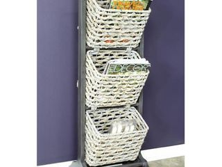 Vale 3 Tier Magazine Rack With 3 Hyacinth Storage Baskets  Retail 199 99