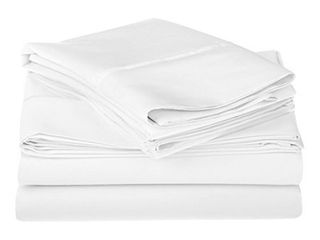 Egyptian Cotton 1200 Thread Count Oversized Queen Sheet Set Solid  White