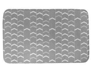 Single Color lined Chevrons Bath Mat  Gray