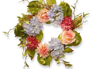 18 inch Dahlia  Hydrangea and Rose Wreath