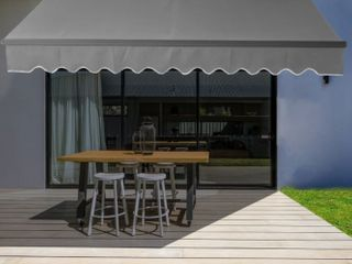 AlEKO Black Frame Retractable Home Patio Canopy Awning 10 x 8 ft  Canopy Not Included Retail  324 99