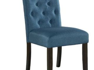 Blue Tufted Back Dining Chair