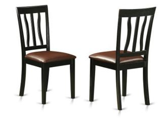 Dining Chairs Cherry Faux leather Rubberwood  Set of 2